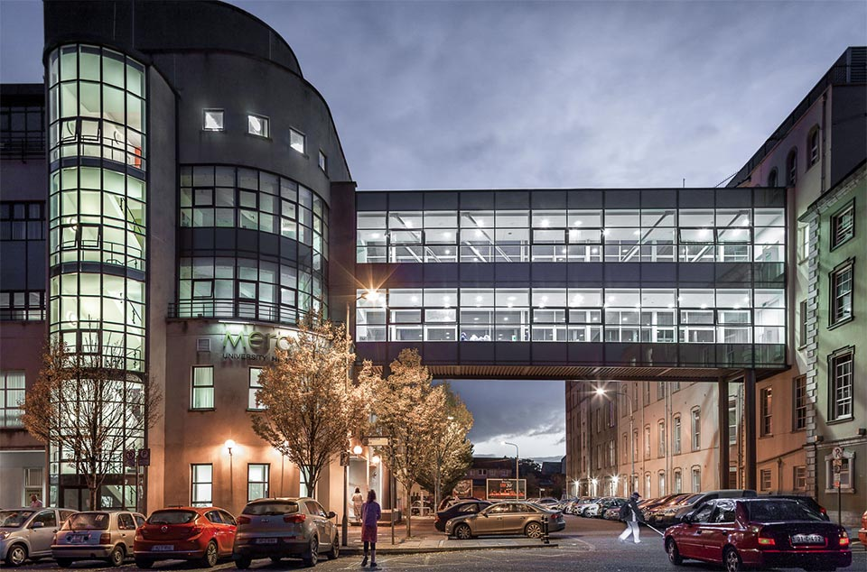 The bridging corridor linking the two wings of Cork's Mercy Hospital, located in Cork City centre. Captured by photographer David Creedon.